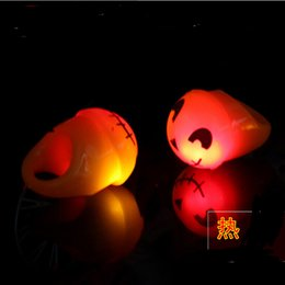 Wholesale Pumpkin Ornaments - Wholesale Halloween Ring Horror Gruesome Led Light Pumpkin Favor Flash Ring flash Ring Halloween pumpkin ornament YH174