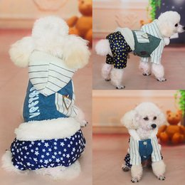 Wholesale Rainproof Clothing - Dog Supplies Autumn and winter Pet clothes Rainproof with hat Dog Apparel Thicken cotton padded clothes free shipping