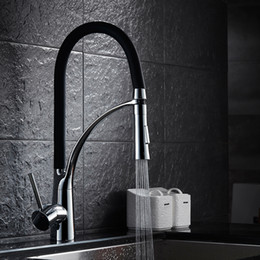 Wholesale Pull Out Kitchen Brass - High Quality Bathroom Brass Kitchen Sink Faucet Hot Cold Water Spring Mixer Sprayer Spout Tap Two Functions Chrome+Black Finishes