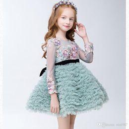Wholesale Lolita Mint Dress - Luxury Flower Girls Dresses Lolita Pageant Party Birthday Prom Wedding Wear Dress Jewel Sheer Long Sleeve A-Line mint green Formal Gown