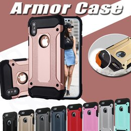 Wholesale Hybrid Steel - Steel Armor Dual Layer Shockproof Defender Robot Hybrid PC+Silicone Rubber Hard Cover Case For iPhone X 8 7 Plus 6S Samsung S8 S7 Note 8