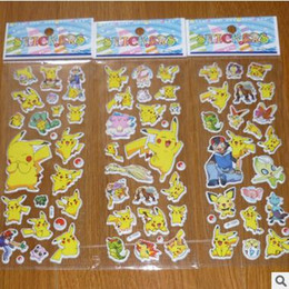 Wholesale Sticker For Children Day - 2016 3D Cartoon Sticker Poke Pikachu Wall Stickers UV Wallpaper Nursery Children Kids Bedroom Wall paster Kindergarten Reward 6.75*16.9cm