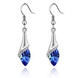 Wholesale Vintage Blue Drop Earrings - Austrian Crystal Drop Earrings For Womens Made With Swarovski Elements Long Dangle Earring Vintage Fashion Jewelry 2001