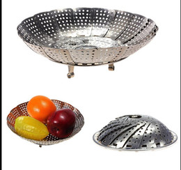 Wholesale Cooker Sizes - 200 Set  lot Small Size Folding Stainless Mesh Food Dish Poacher Vegetable Fruit Steamer Basket Cooker Cooking Tools Free Shipping