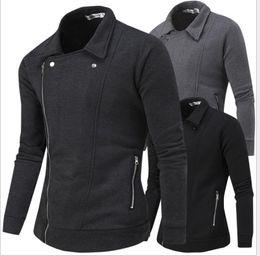 Wholesale Vintage Sweater Vests - hot 2016 NEW Men's casual jacket hooded hit color multi oblique zipper design sweater men jacket