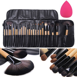 Wholesale Eyebrow Sponge Brush - 24Pcs Professional Makeup Brushes Set Eyeshadow Eyeliner Eyebrow Blush Foundation Brush with Case+Sponge Puff Cosmetic Tool Kits