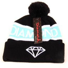 Wholesale Hip Hop Party Supplies Wholesale - Diamond Supply Beanie With pom Beanies Hip Hop Snapback Hats Custom Knitted Cap Snapbacks free shipping