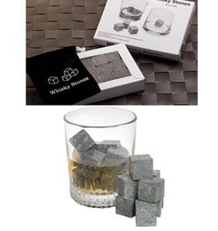 Wholesale Wholesale Whiskey Gift Sets - 9pcs Set Whiskey Stones Whiskey Ice Cubes Cooler Stone Wine Beer Cooling Whisky Rock Wedding Gift Favor KKA2907