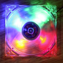 Wholesale 12v Cpu Fans - Wholesale- 2016 New 12cm PC Computer Clear Case Quad 4 Blue RED Colorful LED Light 9-Blade CPU Cooling Fan 12V Hot Promotion Drop Shipping