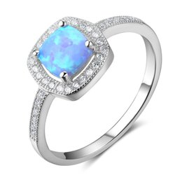 Wholesale Opal Gifts For Women - Classic Genuine 925 Sterling Silver Rings Simulated Diamond Opal Rings Fashion Jewelry Wedding Rings For Women