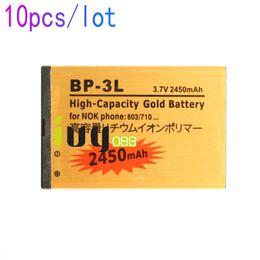 Wholesale Bp 3l Battery - 10pcs lot BP-3L BP3L BP 3L 2450mAh Gold Replacement Battery For NOKIA Lumia 505 510 603 610 710 701 900 ASHA 303 603 Batteries Batteria
