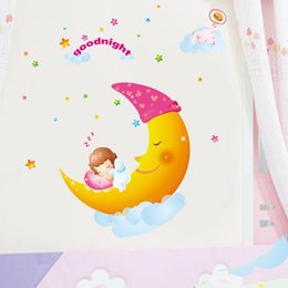 Wholesale Sweet Dreams Wall Art - Small removable wall stickers cartoon children's room bedroom wall stickers Moon Sweet Dreams wholesale AM005