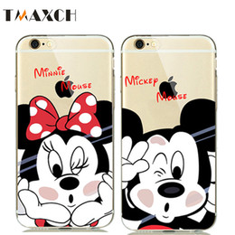 Wholesale Rubber Duck Cartoon - Cute Cartoon Minnie Mickey Mouse Soft Clear Case Cover for iphone8 5S SE 6 6S 7 Plus Rubber Silicone Case Donald Daisy Duck