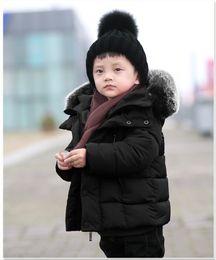 Wholesale Toddler Fur Jacket - New 2017 Winter Kids Short Design Thickening Cotton Coat Baby Big Fur Collar Clothing Toddler Boys Warm Down Jacket