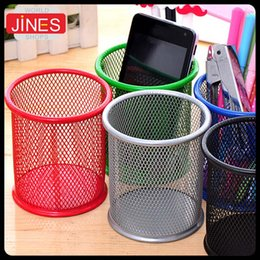 Wholesale Office Supplies Desk Accessories - 2pcs lot free shipping office&school supplies Metal pen holder Grid Pen container student stationery Desk Accessories Organizer