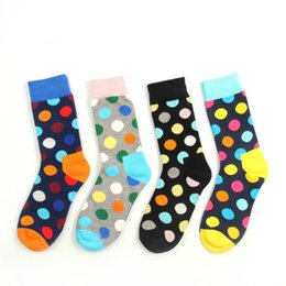 Wholesale Womens Cotton Knee Socks - 12pairs lot Happy socks fashion men's womens polka dot socks men's women's casual cotton socks