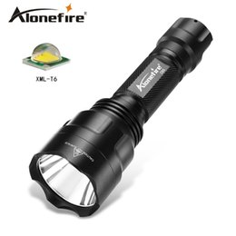 Wholesale cree xml battery - ALONEFIR C8s Cree XML T6 Tactical LED Flashlight Torch light for 18650 Rechargeable battery