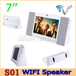 Wholesale Android Iptv Box Camera - Portable Bluetooth 4.0 WIFI Speaker S01 Quad Core 1.3GHz Android Smart Sound Box Mini PC Camera IPTV 1+8GB Free DHL