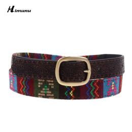 Wholesale Woman Dress Chinese Style - Wholesale- Retail 2015 New Fashion Chinese embroidered Samba Style Cloth&PU Leather Belt For Women Match Dress Jeans Female belt