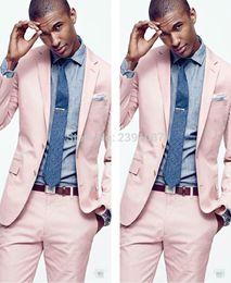 Wholesale Blazers Men Pink - Fashion light pink men suit slim fit men suits casual workoffice wedding party blazer groom groomsmen tuxedos (Jacket+Pant)