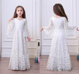 Wholesale Dress Girl Picture - Wholesale Stock A Line Flower Girl Dresses with 3 4 Speaker Sleeves Full Lace Country Party Gowns For Little Girl 2017 New MC1051