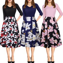 Wholesale China Print Dress - Fashion Women Flora Printed Dresses Flare 3 4 Sleeve Autumn Ball GownCasual Dresses Plus Size Elastic Fabric Cheap China Dress Free Shipping