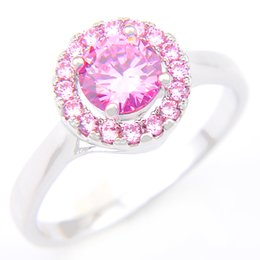 Wholesale Sterling Silver Rings Pink - 5 Pieces 1 lot Lucky Shine Friend Gift Superb Round Pink Kunzite Crystal 925 Sterling Silver Rings Russia American Australia Wedding Rings