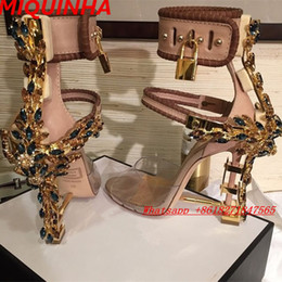 Wholesale Wrap Leather Boots - Limited Edition Perspex High Heels Sandals Luxury Quality Ankle Women Sandals Boots Peep Toe Rhinstone Lock Design Shoes Woman summer