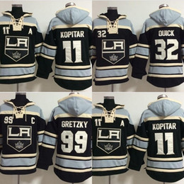 Wholesale Hot 32 - Hot Sale Mens Old Time Los Angeles Kings 11 Anze Kopitar 99 Wayne Gretzky 32 Quick Best Quality Cheap Embroidery Logos Hockey Hoodies
