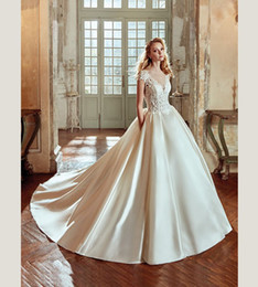 Wholesale Wedding Ballgown Short Sleeve - Haute Couture Boat Neck Sheer Bodice Satin Ballgown Wedding Dress with Side Pocket Italian Bridal Design 2017 NIAB17001 Nicole Spose
