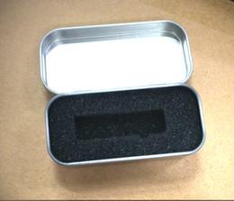 Wholesale Wholesale Rectangular Tin Box - 5PCS Mini Rectangular USB tin box Metal packaging Transparent gift box Size 80 x 40 x 20MM