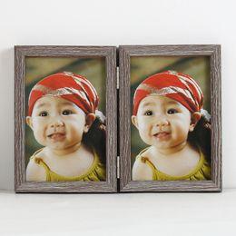 2019 molduras de madeira Dobre Photo Frame Criativo Presentes Mobiliário Doméstico Ornamentos de Alta Qualidade Molduras De Madeira Venda Quente 10db J R desconto molduras de madeira