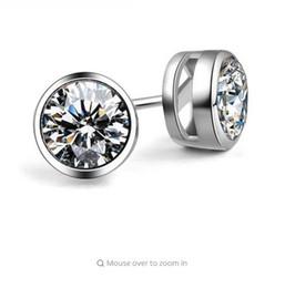 Wholesale Titanium Diamond Earring Studs - SHIPEI 2016 New Fashion Woman Man Round Stud Earrings with 18K White Gold Plating and 0.75 Carat AAAA Imitation Shine Diamonds