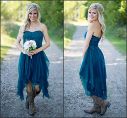 Wholesale Strapless Lace Bridesmaid Dresses - 2017 Teal High Low Country Style Bridesmaid Dresses Strapless A Line Vintage Lace Chiffon Maid Of Honor Gowns Formal Party Gowns CPS576