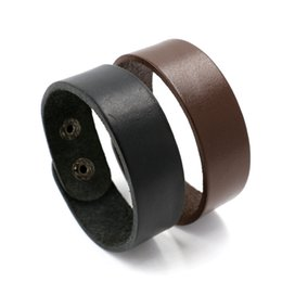 Wholesale Mens Wide Leather Cuff Bracelets - Punk Mens Genuine Leather Bracelets Cuff Wide Bracelet Wristband Bangle Black Brown Leather Snap buttons Bracelets For Men Women Jewelry DIY