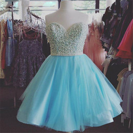 Wholesale Sexy Corsets For Size 12 - Sparkly Homecoming Dresses 2016 Free Shipping Blue Short Dresses for Graduation Corset Cocktail Dress with Pearls