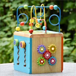 Wholesale Beads Wire Toys - Funy Multifunctional Treasure Chest Wooden Wise Box Beads Around Wire Track Wood Toy Baby Early Education Toy Kids Birthday Gift