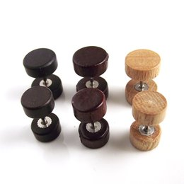 Wholesale Ear Tunnel Piercing Wood - 2016 50pcs Wood Fake Ear Plug Flesh Plugs Cheater Tapers Illusion Stud Earring Piercing Body Jewelry