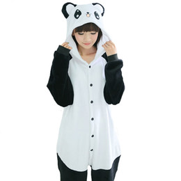 Wholesale Cute Panda Cosplay - Winter Kungfu Panda Animal Pajama Black&White Pyjamas Set Cute Hooded Home Sleep Wear Adult Cosplay Garment Unisex
