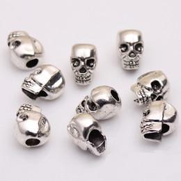 Wholesale Metal Skeleton Jewelry - Wholesale Skull Head Beads Skeleton Evil Zinc Metal Alloy Big Hole Charm Bead Fit European Chain Pandora Bracelets Jewelry 100pcs