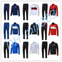 Wholesale Jackets Beige - Ajax Jacket 17 18 Real Madrid AC Milan Inter Man United Dort munds Track Soccer Jogging Football Men Zipper jackets sportswea set tracksuit