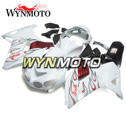 Wholesale White Zx14r - Fairings For Kawasaki ZX14R ZZ R1400 2006 - 2011 ABS Plastics Injection Hulls Motorcycle Fairing Kit Bodywork Cowlings White Red Flames