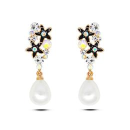 Wholesale Enamel Flower Drop Earrings - European and American fashion joker set crystal flower water drop earrings contracted temperament enamel pentagram earrings real gold plated