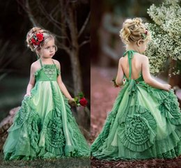 Wholesale Beauty Hands Blue - Newest Little Girls Pageant Dresses 2017 Beauty Green Tulle Applique Halter Handmade Flowers Trimed Flooor Length Flower Girls Dress