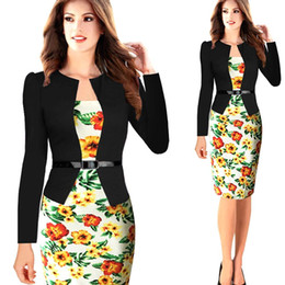 Wholesale Cheap Ladies Formal Wear - S-3XL Plus Size Patchwork Women Formal Dresses 2017 Fashion Bodycon Hot Knee Length Office Lady Wear To Work Dresses Cheap Clothing FS0392