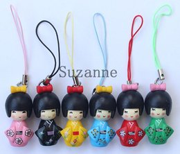 Wholesale Japanese Kokeshi Charms - 60 pcs Free Shipping, lovely beautiful Japanese Oriental Kokeshi Doll Charms, Squishies Cell Phone Straps, Wholesale