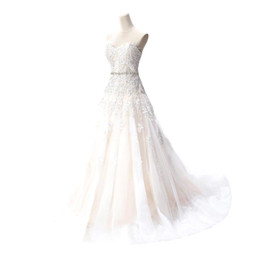 Chinese Vestido De Noiva Hot Sale Cheap Wedding Dresses 2016 A-line Sweetheart Appliques Beaded Lace-up Chapel Train Bridal Gown manufacturers