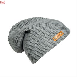 Wholesale Hollow Out Patchwork - Hot Fashion Fall Winter Unisex Baggy Beanie Oversize Hat Ski Knitting Slouchy Cap Hip Hop Chapeu Hollow Out Hat Leather Label Sale SV028665
