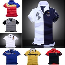 Wholesale Black Air Force Ones - New 2016 air force one Top Quality embroidery men's Aeronautica militare Men Shirts Brand POLO diamond Fashion shark clothing