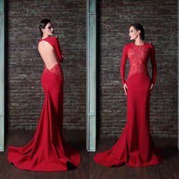 Wholesale Sexy Open Images Hot Picture - 2016 Cheap Long Sleeve Evening Gowns Sexy Jewel Neck Elegant Hot Red Lace Applique Mermaid Open Back Formal Occasion Dresses Long Train